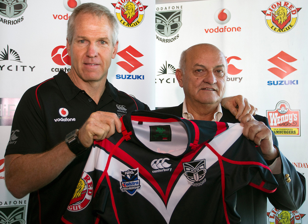 Matthew Elliott, left,  with Vodafone Warriors co-owner Owen Glenn as chief executive Wayne Scurrah announces that experienced NRL and English Super League coach has been signed on a two-year contract as the club's new head coach, Skycity, Auckland, New Zealand, Friday, October 12, 2012.  Credit:SNPA / David Rowland
