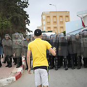 "Al hoceima, in June during ""Aid"" last day of ramadan go to demonstrate in the street. Police blocked people in streets."