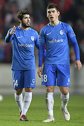 February 14, 2019 - Prague, CZECH REPUBLIC - Genk's Alejandro Pozuelo and Genk's Ruslan Malinovski pictured after a soccer game between Czech club SK Slavia Praha and Belgian team KRC Genk, the first leg of the 1/16 finals (round of 32) in the Europa League competition, Thursday 14 February 2019 in Prague, Czech Republic. BELGA PHOTO YORICK JANSENS (Credit Image: © Yorick Jansens/Belga via ZUMA Press)