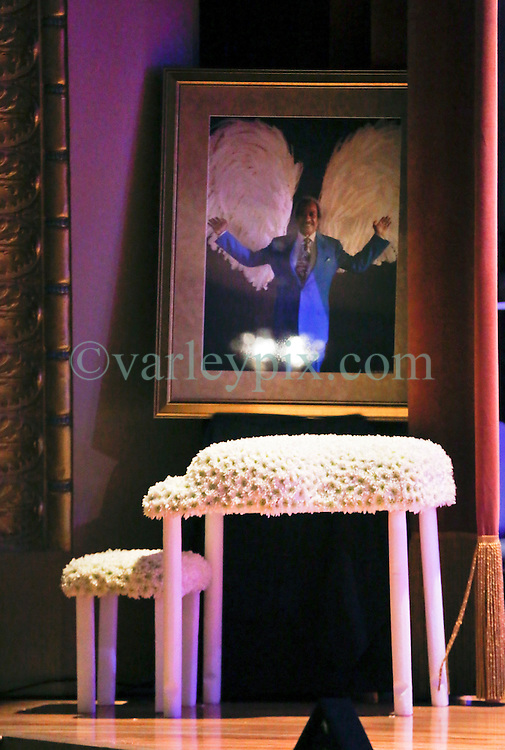 20 November 2015. Orpheum Theater, New Orleans, Louisiana. <br /> Floral tribute at the memorial service for musician Allen Toussaint. <br /> Photo; Charlie Varley/varleypix.com