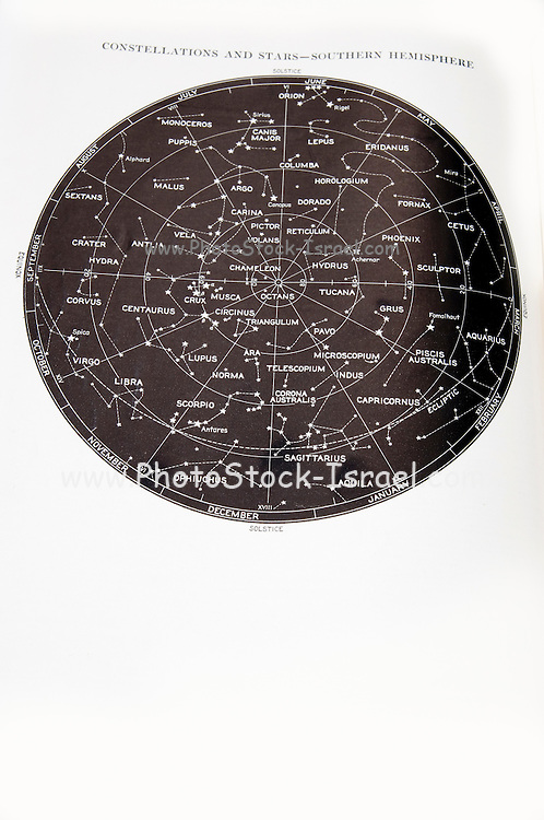 Southern Hemisphere star and constellation sky map