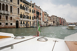View from a water taxi in Venice, Italy.<br />