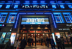 Exterior view of The Playhouse Theatre on Leith Walk in the evening before a performance of Jersey Boys, Edinburgh, Scotland .UK