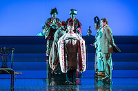 """LONDON, UK, 14 May, 2016. Members of the cast rehearse for the revival of director Anthony Minghella's production of Puccini's opera """"Madam Butterfly"""" at the London Coliseum for the English National Opera. The production opens on 16 May. Photo credit: Scott Rylander."""