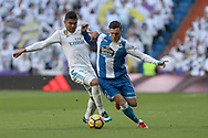 MADRID, SPAIN. January 21, 2018 - Casemiro and Lucas Perez looking for the ball. Doubles for Cristiano Ronaldo, Bale and Nacho, alongside Modric's sole strike, overturn Deportivo's early goal in a superb display of the Whites' firepower. Photos by Antonio Pozo | PHOTO MEDIA EXPRESS