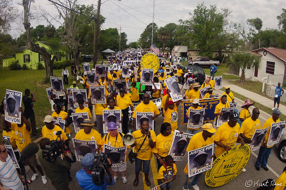 March 31, 2012 - Sanford, Florida, U.S. - Protestors rally in the streets of Sanford, Florida for the justice of Treyvon Martin.