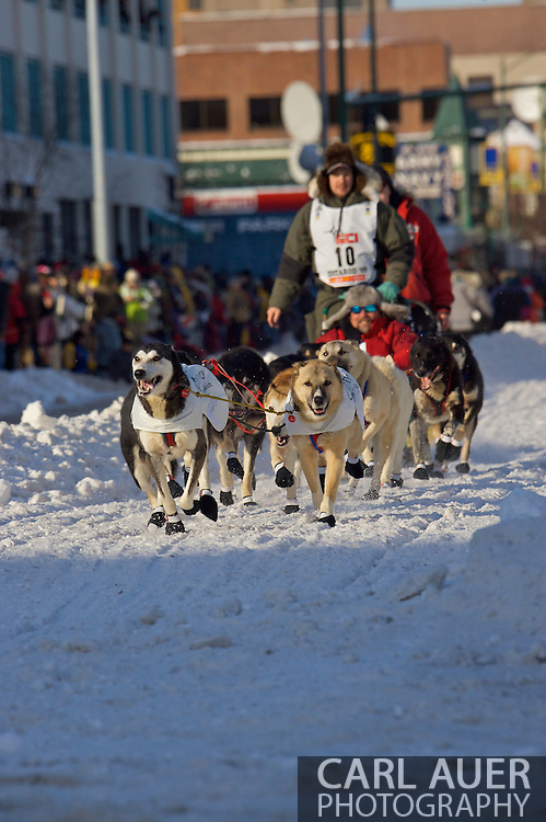 March 7th, 2009:  Anchorage, Alaska: Ray Redington, Jr. of Wasilla, Alaska at the start of the 2009 Iditarod race.