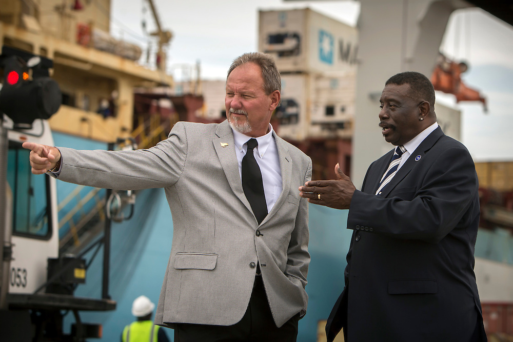 Former President of Local ILA 1414 Willie Seymore, right, and ILA Local #2046 President Kerry Scott, left, stand on the dock at the Georgia Ports Authority Garden City Terminal, Tuesday, Aug. 11, 2015, near Savannah, Ga. Both men service on the 23-member International Executive Council. (GPA Photo/Stephen B. Morton)