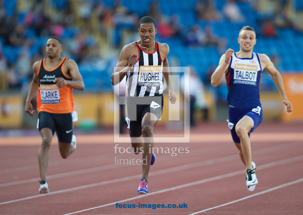 Zharnel Hughes winning the 200m Final during the Sainsbury's British Championships at Alexander Stadium, Birmingham<br /> Picture by Alan Stanford/Focus Images Ltd +44 7915 056117<br /> 04/07/2015