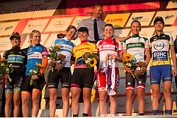 The final celebration on the podium after Stage 2 of the Lotto Thuringen Ladies Tour - a 102.9 km road race, starting and finishing in Dortendorf on July 14, 2017, in Thuringen, Germany. (Photo by Balint Hamvas/Velofocus.com)