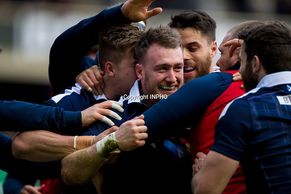 RBS 6 Nations Championship Round 1, BT Murrayfield, Scotland 4/2/2017<br /> Scotland vs Ireland<br /> Scotland's Stuart Hogg celebrates scoring their second try with teammates<br /> Mandatory Credit &copy;INPHO/Craig Watson