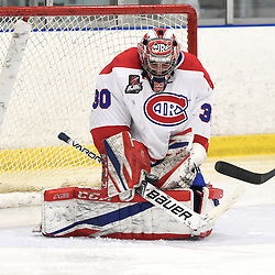 TORONTO, ON  - JAN 7,  2018: Ontario Junior Hockey League game between the Toronto Jr. Canadiens and the Buffalo Jr. Sabres, Christian Mattiace #30 of the Toronto Jr. Canadiens blocks the shot during the third period.<br /> (Photo by Andy Corneau / OJHL Images)