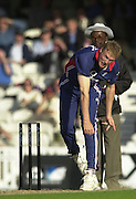 09/07/2002 - Tue.Sport - Cricket-  NatWest Series - Eng vs India Oval.India batting  - Zaheer Khan and Anil Kumble .Andrew Flintoff bowling.