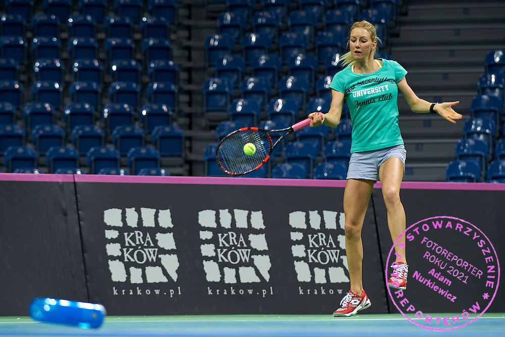 Urszula Radwanska from Poland in action during official training session three days before the Fed Cup / World Group 1st round tennis match between Poland and Russia at Krakow Arena on February 4, 2015 in Cracow, Poland<br /> Poland, Cracow, February 4, 2015<br /> <br /> Picture also available in RAW (NEF) or TIFF format on special request.<br /> <br /> For editorial use only. Any commercial or promotional use requires permission.<br /> <br /> Mandatory credit:<br /> Photo by &copy; Adam Nurkiewicz / Mediasport