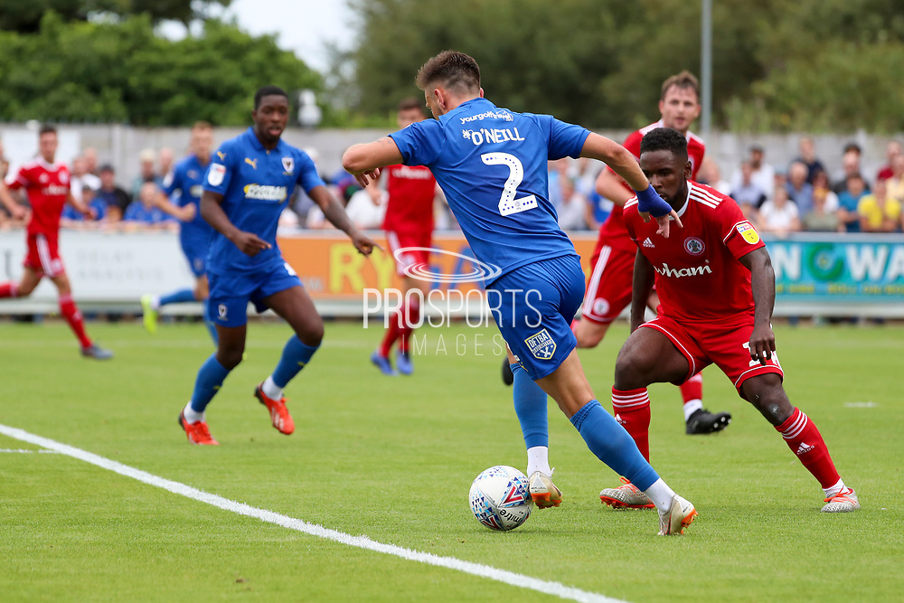 AFC Wimbledon defender Luke O'Neill (2) dribbling into box during the EFL Sky Bet League 1 match between AFC Wimbledon and Accrington Stanley at the Cherry Red Records Stadium, Kingston, England on 17 August 2019.