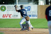 KELOWNA, BC - JULY 24:  Second baseman, Brett Tressen #31 of the Kelowna Falcons, looks for the throw as Nick Israel #10 of the Yakima Valley Pippins slides in to second base at Elks Stadium on July 24, 2019 in Kelowna, Canada. (Photo by Marissa Baecker/Shoot the Breeze)