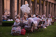 Berlin, Germany - 25.06.2016 <br /> <br /> Dinner en blanc at Museum Island Berlin-Mitte.<br /> <br /> Dinner en blanc auf der Museumsinsel in Berlin-Mitte.<br /> <br /> Photo: Bjoern Kietzmann