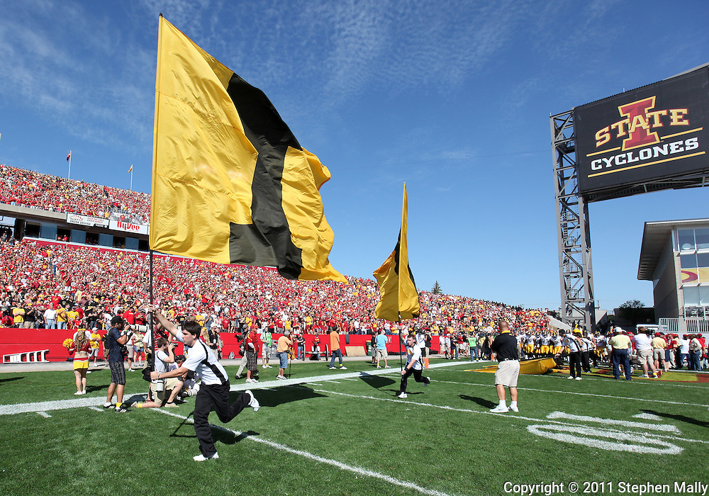 September 10, 2011: Iowa takes the field before the start of the first half of the game between the Iowa Hawkeyes and the Iowa State Cyclones during the Iowa Corn Growers Cy-Hawk game at Jack Trice Stadium in Ames, Iowa on Saturday, September 10, 2011. Iowa State defeated Iowa 44-41 in 3OT.