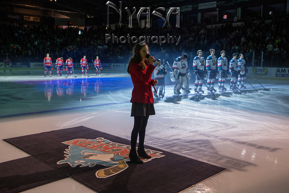 KELOWNA, CANADA - FEBRUARY 17:  Anthem Singer Rachael Lane at the Kelowna Rockets game on February 17, 2017 at Prospera Place in Kelowna, British Columbia, Canada.  (Photo By Cindy Rogers/Nyasa Photography,  *** Local Caption ***