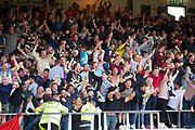 August 9th 2017, Dens Park, Dundee, Scotland; Scottish League Cup Second Round; Dundee versus Dundee United; Dundee fans celebrate after Faissal El Bakhtaoui had scored for 1-0