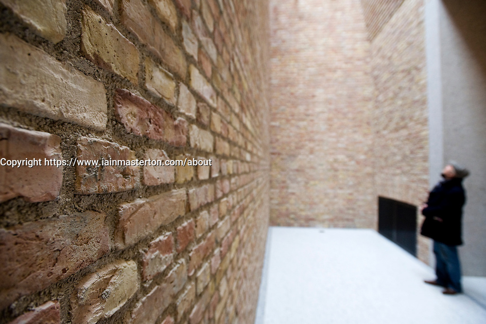 Detail of new brickwork wall and small room within the recently renovated Neues Museum in Berlin 2009 Architect David Chipperfield