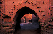 Colour and light interact in the alleyways of the medina, Marrakesh, Morocco