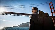 Trey Dye and Emma Chammah sail under Golden Gate Bridge in San Francisco Bay