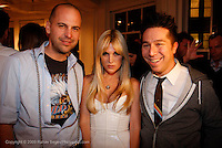 "Claude Morais, Tinsley Mortimer and Brian Wolk, attend the opening of ""Lady"" by Douglas Friedman at the Ruffian Gallery on April 23, 2009 in New York City."