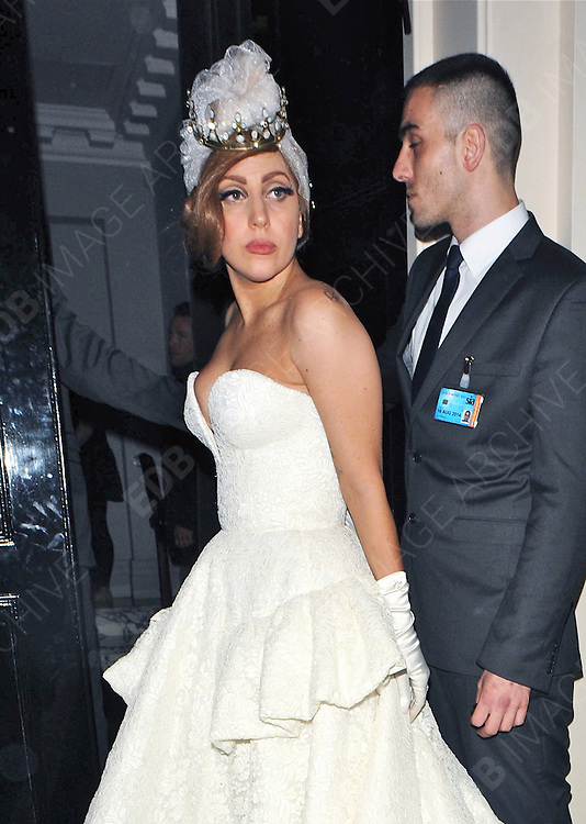 09.SEPTEMBER.2012. LONDON<br /> <br /> LADY GAGA LEAVING THE ARTS CLUB IN MAYFAIR AFTER PARTYING WITH JAY-Z AND RIHANNA, AFTER HER GIG AT TWICKENHAM STADIUM. <br /> <br /> BYLINE: EDBIMAGEARCHIVE.CO.UK<br /> <br /> *THIS IMAGE IS STRICTLY FOR UK NEWSPAPERS AND MAGAZINES ONLY*<br /> *FOR WORLD WIDE SALES AND WEB USE PLEASE CONTACT EDBIMAGEARCHIVE - 0208 954 5968*