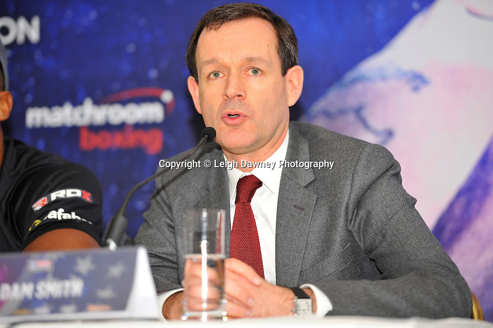 Head of Boxing at Sky Sports Adam Smith, speaks at the press conference at the Dorchester Hotel, Park Lane, London on19th February 2016 ahead of the IBF World Heavyweight Title fight between Anthony Joshua and Charles Martin. Photo credit: Leigh Dawney