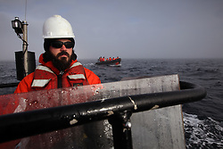 USA ALASKA CHUKCHI SEA 25JUL12 - Greenpeace crew members survey the Chukchi Sea near a proposed Shell drill site north of Point Hope, Alaska.......Photo by Jiri Rezac / Greenpeace..© Jiri Rezac / Greenpeace