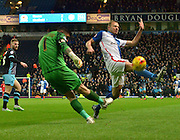 Sheffield Wednesday Goalkeeper, Keiren Westwood send the ball up field during the Sky Bet Championship match between Blackburn Rovers and Sheffield Wednesday at Ewood Park, Blackburn, England on 28 November 2015. Photo by Mark Pollitt.