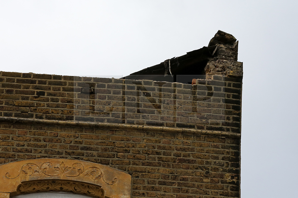 © Licensed to London News Pictures. 10/03/2019. London, UK. The roof above Stokey Vintage Cafe on Stoke Newington High Street collapsed this morning due to high winds and the building is now unsafe. Photo credit: Dinendra Haria/LNP