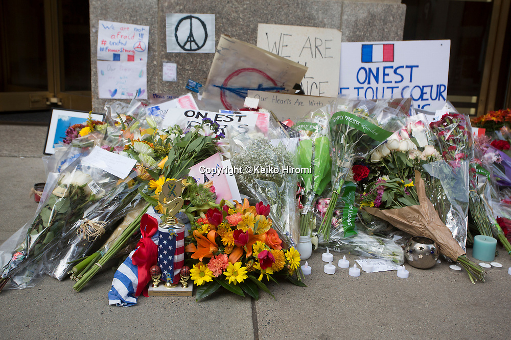 November 15, 2015, Boston, Massachusetts, USA: A memorial is held outside the Consulate General of France for the victims of the Paris terror attacks.