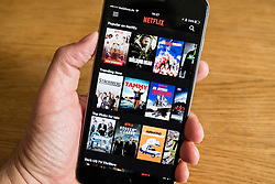 Detail of Netflix streaming catchup service app screen  on iPhone 6 smart phone