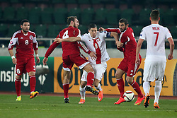 14.11.2014, Boris Paitschadse Nationalstadion, Tiflis, GEO, UEFA Euro Qualifikation, Georgien vs Polen, Gruppe D, im Bild GURAM KASHIA ROBERT LEWANDOWSKI UCHA LOBZHANIDZE // during the UEFA EURO 2016 Qualifier group D match between Georgia and Poland at the Boris Paitschadse Nationalstadion in Tiflis, Georgia on 2014/11/14. EXPA Pictures &copy; 2014, PhotoCredit: EXPA/ Newspix/ Piotr Kucza<br /> <br /> *****ATTENTION - for AUT, SLO, CRO, SRB, BIH, MAZ, TUR, SUI, SWE only*****