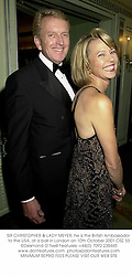 SIR CHRISTOPHER & LADY MEYER, he is the British Ambassador to the USA, at a ball in London on 10th October 2001.OSZ 33