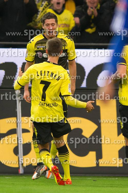 26.11.2011, Signal Iduna Park, Dortmund, GER, 1. FBL, Borussia Dortmund vs FC Schalke 04, im Bild Jubel Moritz Leitner (#7 Dortmund) und Robert Lewandowski (#9 Dortmund) nach dem 1-0 Dortmund // during Borussia Dortmund vs. FC Schalke 04 at Signal Iduna Park, Dortmund, GER, 2011-11-26. EXPA Pictures © 2011, PhotoCredit: EXPA/ nph/ Kurth..***** ATTENTION - OUT OF GER, CRO *****