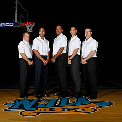 December 14, 2011; New Orleans, LA, USA; New Orleans Hornets assistant coaches (left to right) Dave Hanners, Fred Vinson, Randy Ayers, James Borrego and Bryan Gates pose for a photo during Media Day at the New Orleans Arena.   Mandatory Credit: Derick E. Hingle-US PRESSWIRE