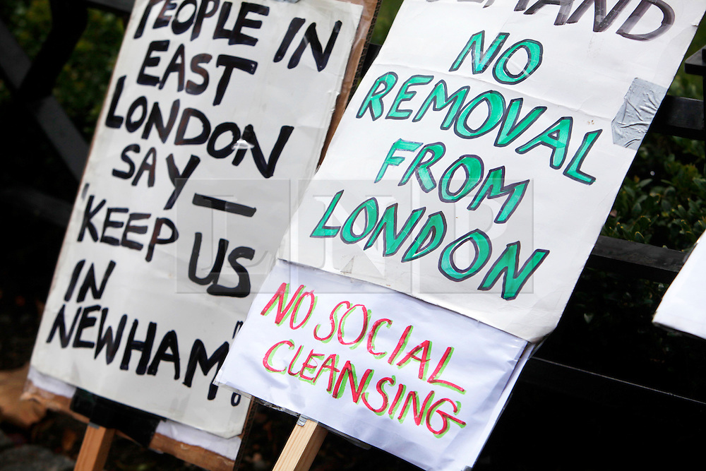 Newham, London. 05/07/2014<br /> Placards at a protest in Newham. The Focus E15 Mothers campaign is a group of young single mothers who were placed into temporary accommodation by Newham council, after being evicted from council housing, but were warned they could be re-housed as far away as Birmingham, Manchester and Hastings. Some mothers have already relocated outside of London due to the lack of affordable social housing.<br /> Photo: Anna Branthwaite/LNP