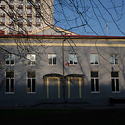 A Russian flag is seen hanging from a window at one of the back entrances of the Donbass Regional Government building in central Donetsk. Pro-Russian activists occupied the building over the past weekend and are now barricaded inside expecting a policial intervention as the Ukrainian government in Kiev gave a 48 hour deadline for the activists to abandon the building.