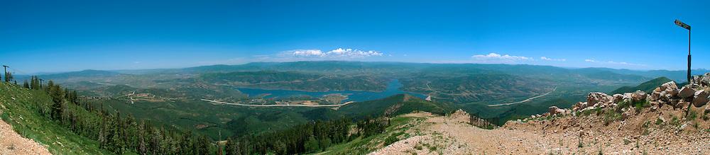 Panorama of Jordanelle Resorvoir and Kamas Valley and Uinta Mountains from Deer Vallet Resort