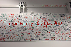 UK ENGLAND LUTON 12FEB14 - Luton Family day signature wall at Easyjet company's headquarters in Luton, England.<br />