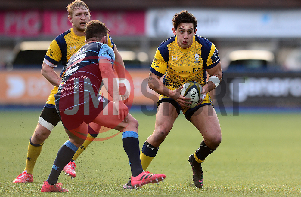 Bryce Heem of Worcester Warriors looks to break forward - Mandatory by-line: Dougie Allward/JMP - 04/02/2017 - RUGBY - BT Sport Cardiff Arms Park - Cardiff, Wales - Cardiff Blues v Worcester Warriors - Anglo Welsh Cup