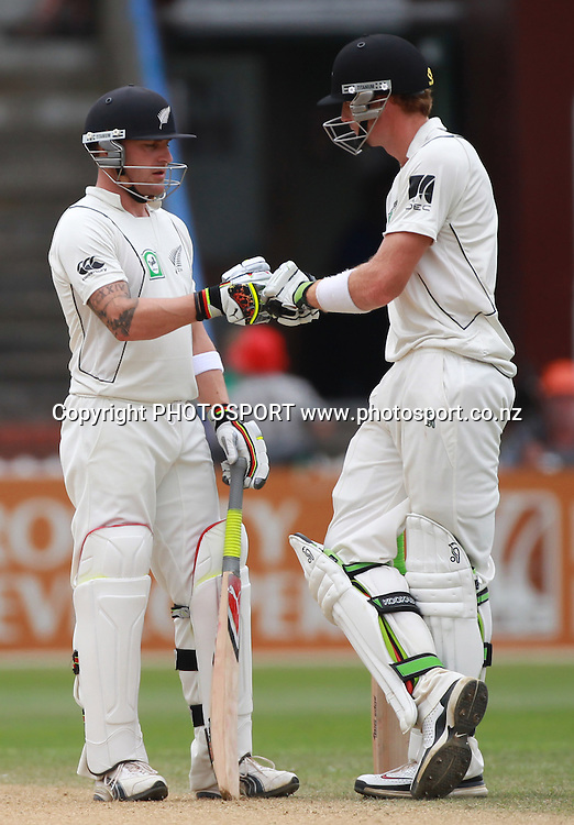 Brendon McCullum and Martin Guptill on Day 4 of the 2nd test match.  New Zealand Black Caps v Pakistan, Test Match Cricket. Basin Reserve, Wellington, New Zealand. Tuesday 18 January 2011. Photo: Andrew Cornaga/photosport.co.nz