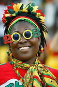 Ghanian fan wearing Ghana 2008 sunglasses. Ghana V Morocco. African Cup of Nations 2008. Ohene Djan Stadium. Accra. Ghana. West Africa..28th January 2008..©Picture Zute Lightfoot.  07939 108077. www.lightfootphoto.co.uk