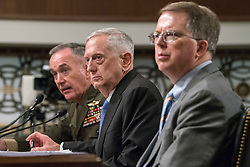 June 13, 2017 - Washington Dc, DC, USA - Chairman of the Joint Chiefs of Staff General Joseph Dunford, Jr., (L), US Secretary of Defense James Mattis (C) and Under Secretary of Defense (Comptroller) and Chief Financial Officer David Norquist (R), testify during a US House Armed Services Committee hearing on the Fiscal Year 2018 budget on Capitol Hill in Washington, DC. (Credit Image: © Ken Cedeno via ZUMA Wire)