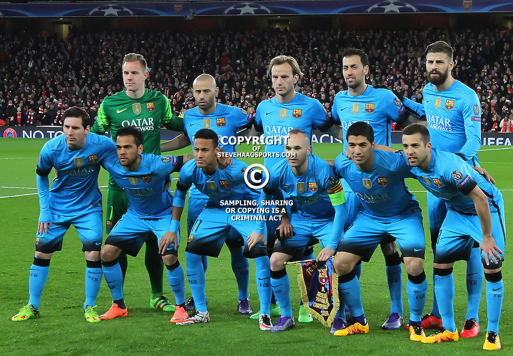 LONDON, ENGLAND - FEBRUARY 23:  Barcelona team line up before the Champions League match between Arsenal and Barcelona at The Emirates Stadium on February 23, 2016 in London, United Kingdom. (Photo by Mitchell Gunn/ESPA-Images)