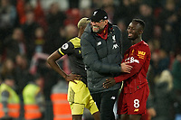 Football - 2019 / 2020 Premier League - Liverpool vs. Southampton<br /> <br /> Liverpool manager Jürgen Klopp hugs Liverpool's Naby Keita at the end of the match<br /> <br /> Colorsport / Terry Donnelly