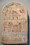 Painted Limestone Stele of Djehutimesi (Mesi) New Kingdom, 18th Dynasty, reign of Thumtmose IV, 1419-1410 BC